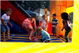 Kids Playing in the Bounce Castle